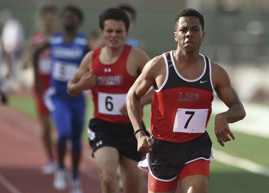 Brandon Falkquay of Lee wins the boys 800-meter run during the District 25/26 and 27/28 area high school track and field meets at Rutledge Stadium on April 20, 2017. Photo: Billy Calzada /San Antonio Express-News / San Antonio Express-News