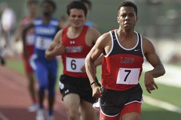 Brandon Falkquay of Lee wins the boys 800-meter run during the District 25/26 and 27/28 area high school track and field meets at Rutledge Stadium on April 20, 2017.