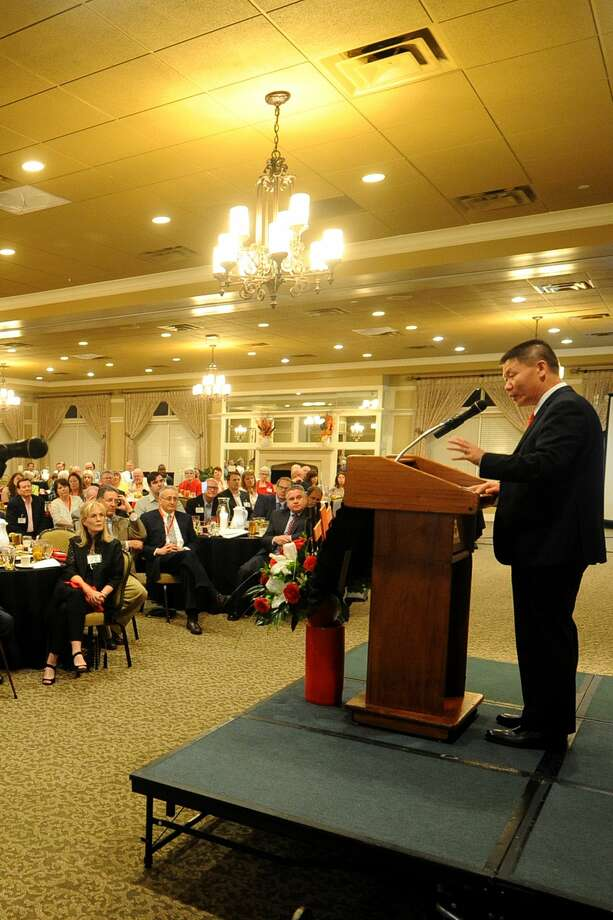 Rev. Bob Fu, founder of ChinaAid, shares stories of religous persection happening in China during the ChinaAid banquet April 20, 2017, at Midland Country Club.  James Durbin/Reporter-Telegram Photo: James Durbin