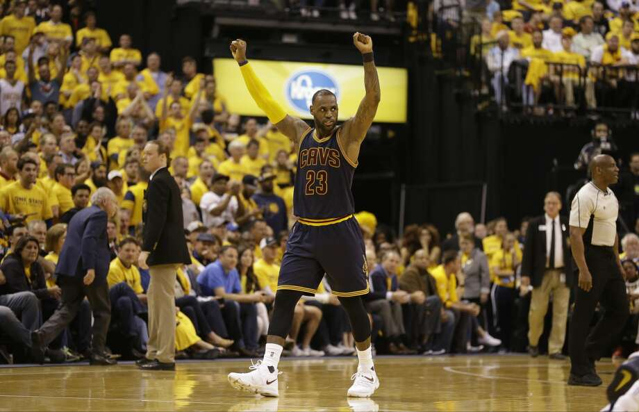 Cleveland Cavaliers forward LeBron James (23) celebrates a basket in the second half of Game 3 of a first-round NBA basketball playoff series, Thursday, April 20, 2017, in Indianapolis. The Cavaliers defeated the Pacers 119-114. (AP Photo/Michael Conroy) Photo: Michael Conroy/Associated Press