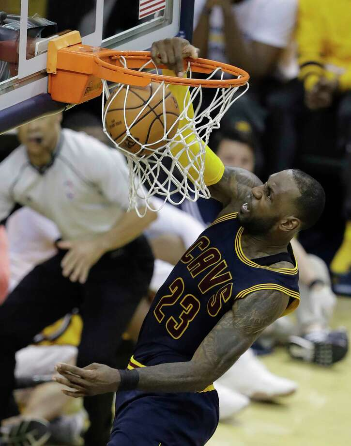 Cleveland Cavaliers' LeBron James dunks during the second half in Game 3 of the team's first-round NBA basketball playoff series against the Indiana Pacers, Thursday, April 20, 2017, in Indianapolis. Cleveland defeated Indiana 119-114. (AP Photo/Darron Cummings) ORG XMIT: NAF134 Photo: Darron Cummings / Copyright 2017 The Associated Press. All rights reserved.