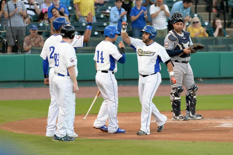 Designated hitter Max Ramirez (18) of the Skeeters celebrates a three run homer in the first inning of an Atlantic League baseball game between the Sugar Land Skeeters and the Bridgeport Bluefish on Thursday April 20, 2017 at Constellation Field, Sugar Land, TX. Photo: Craig Moseley/Houston Chronicle