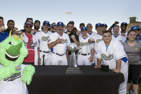 The Skeeters pose with their championship rings before the Sugar Land Skeeter's Opening Day game against the Bridgeport Bluefish on Thursday, April 20, 2017 at Constellation Field in Sugar Land, Texas.