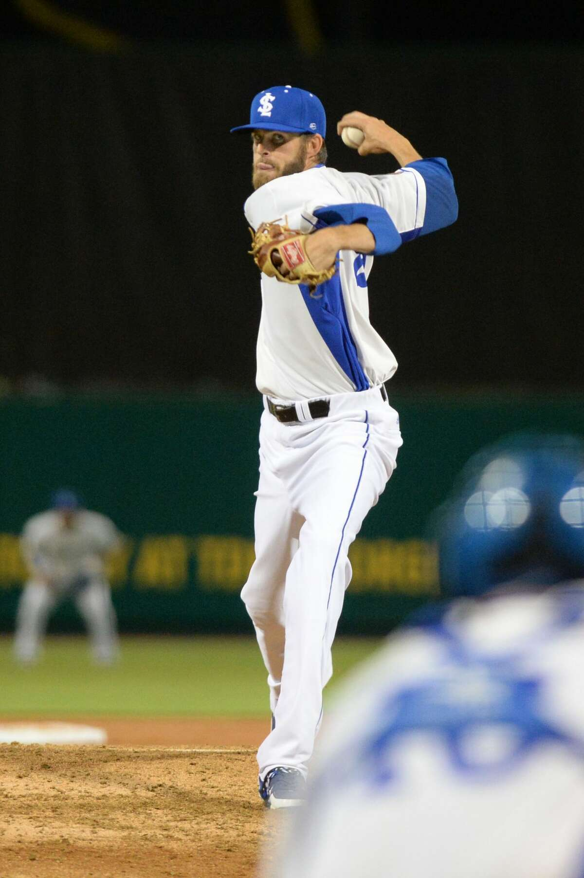 Skeeters starter Jake Hale (28) delivers a pitch in the fifth inning of an Atlantic League baseball game between the Sugar Land Skeeters and the Bridgeport Bluefish on Thursday April 20, 2017 at Constellation Field, Sugar Land, TX.