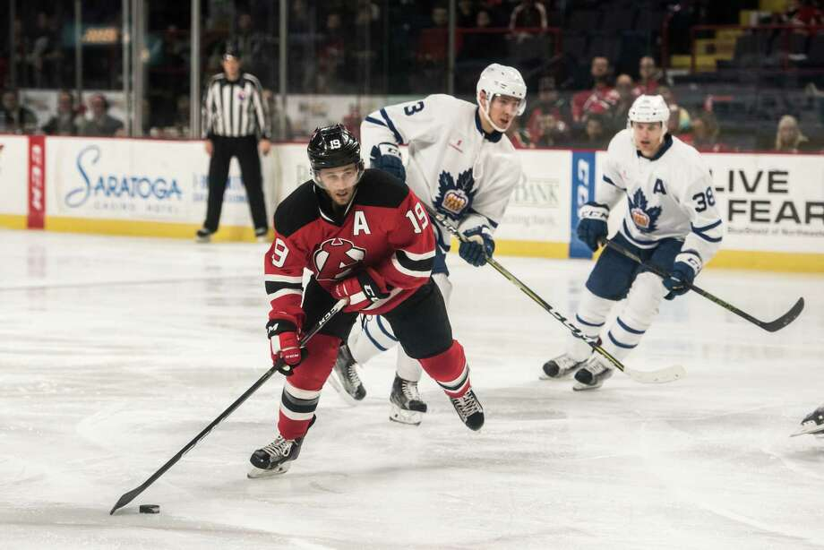 Albany Devil Carter Camperhandles the puck during the game against the Toronto Marlies Thursday April 20th, 2017 at the Times Union Center. Photo by Eric Jenks Photo: Eric Jenks / Eric Jenks 2017