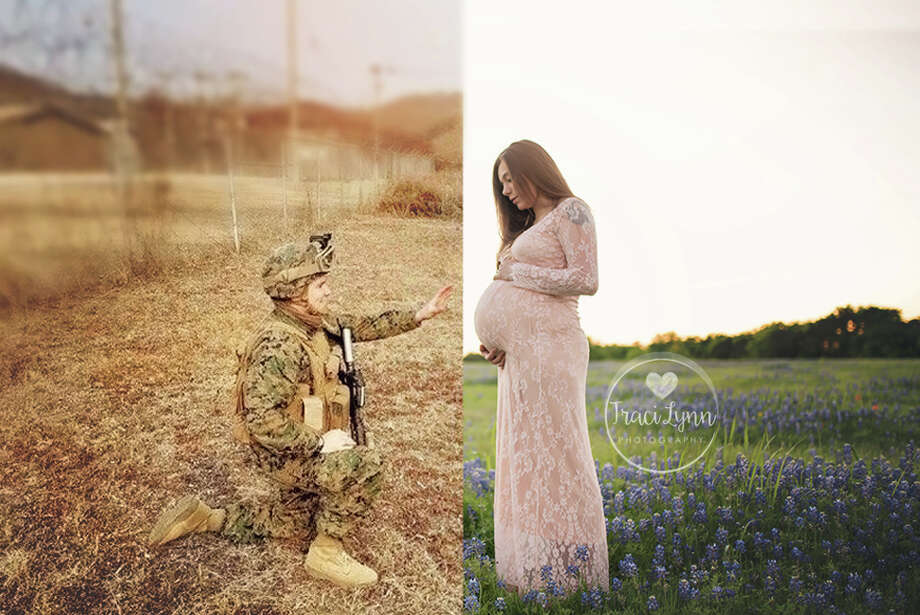 Nicole Bedwell's maternity photos have captured the hearts of the internet. Her husband Wesley was deployed to Japan in the Navy. With some creative photography, Bedwell was able to incorporate her husband in the maternity photos with the help of photographer Traci Lynn Fugitt.  Photo: Traci Lynn Photography