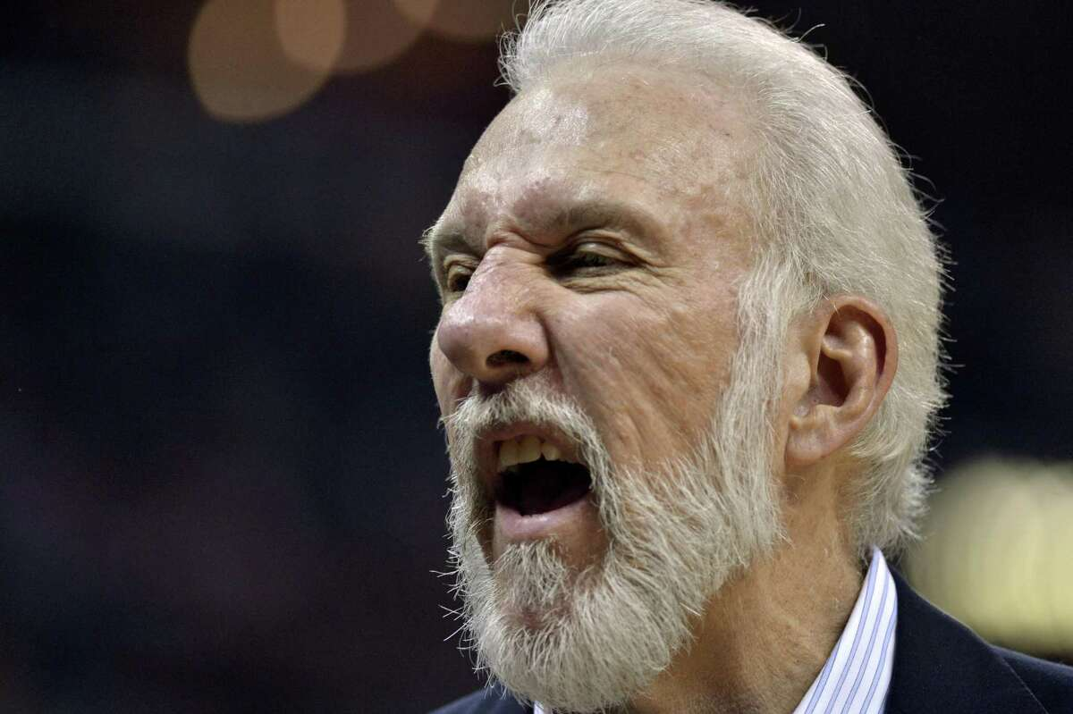 Spurs coach Gregg Popovich calls to players on the bench during the second half of Game 3 against the Grizzlies on April 20, 2017, in Memphis, Tenn.