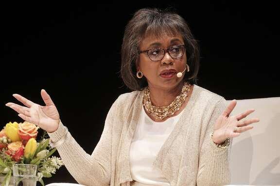 Anita Hill answers a question on stage during a conversation about sexual harassment, workplace discrimination and other issues facing women in the workplace at the Nourse Theater in San Francisco, Calif., on Thursday, April 20, 2017. The event was hosted by the Kapor Center for Social Impact.