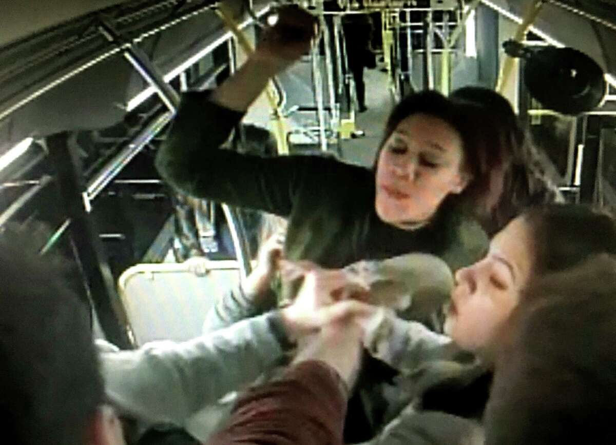 Frame grab from video taken of the Jan. 30, 2016, fight between University at Albany students on a CDTA bus in Albany, N.Y.