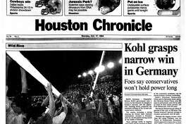 Houston Chronicle front page --October 17, 1994 -- Kohl grasps narrow win in Germany. Rice wins first over UT since 1965