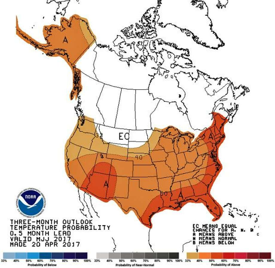 The Climate Prediction Center is forcasting a summer with above average temperatures.The center's longer range forecast also projects above normal temperatures to continue the entire summer into late  The averge temperature for the southwest Connecticut shoreline (with data recorded in Bridgeport) is 77.7 degrees in June, 82.2 in July and 80.9 degrees in August. The center says New England and eastern New York have an 80 percent probability of exceeding normal summer temperatures from June through September. Photo: National Weather Service;Contributed Photo / Contributed Photo / Connecticut Post Contributed