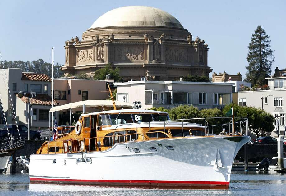 The Miss 102, a 60-foot yacht, prepares for an excursion at the St. Francis Yacht Club in San Francisco. Photo: Paul Chinn, The Chronicle