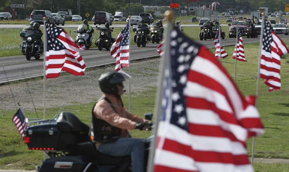 Patriot Guard Riders members arrive at Javelina Harley-Davidson Thursday, April 20, 2017 carrying the remains of several veterans' ashes that had previously been interred at the Abeline courthouse. The remains will be re-interred at Ft. Sam Houston National Cemetery Friday.
