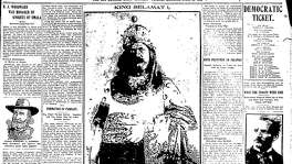 Jump page of April 25th, 1905 newspaper shows King Selamat (Tamales backwards) in full glory.