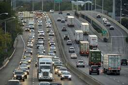 Vehicular traffic moves along Interstate 95 through Stamford.