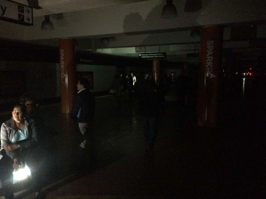 Benjamin W. Feldman took this photo in the Montgomery BART Station during a power outage that hit large areas of San Francisco on April, 21, 2017. Photo: Courtesy Benjamin W. Feldman / Twitter @BWFeldman