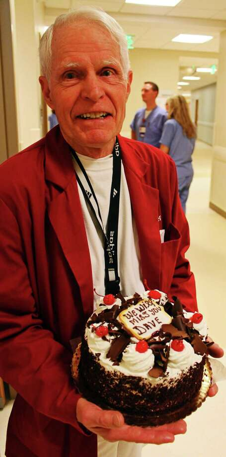 The emergency department at Stamford Hospital in Stamford, Conn., celebrated David Bell's last day as a regular volunteer on Wednesday, April 19, 2017. Bell, a Wilton resident, has logged more than 23,000 hours as a volunteer. Photo: John Breunig / Hearst Connecticut Media / Stamford Advocate