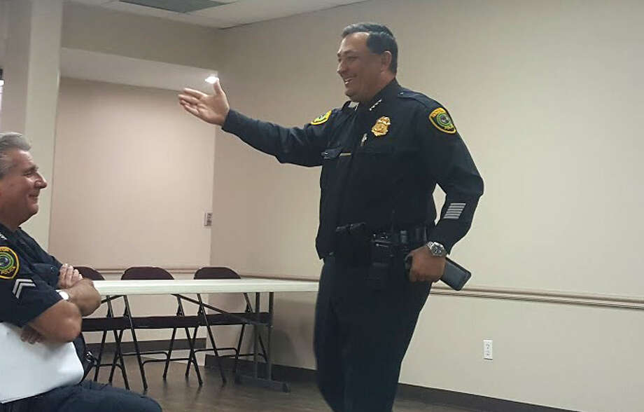 Houston Police Chief Art Acevedo discusses his goals for the future of the Houston Police Department during the Kingwood Positive Interaction Program meeting at the Kingwood Church of Christ Tuesday, April 18. Photo: Melanie Feuk