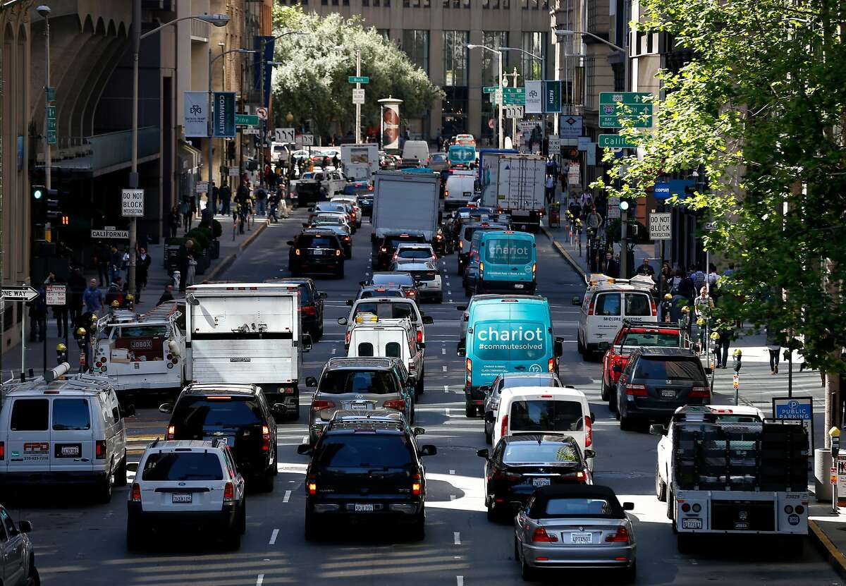 Although traffic signals were functioning at California Street, vehicles traveling south on Battery Street is backed up by non-working lights at Bush Street two blocks away in San Francisco, Calif. on Friday, April 21, 2017 after a massive power outage affected a widespread area of the city.