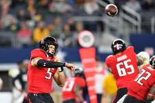 ARLINGTON, TX - NOVEMBER 25: Patrick Mahomes II #5 of the Texas Tech Red Raiders passes the ball during the game  against the Baylor Bears on November 25, 2016 at AT&T Stadium in Arlington, Texas. Texas Tech defeated Baylor 54-35. (Photo by John Weast/Getty Images)