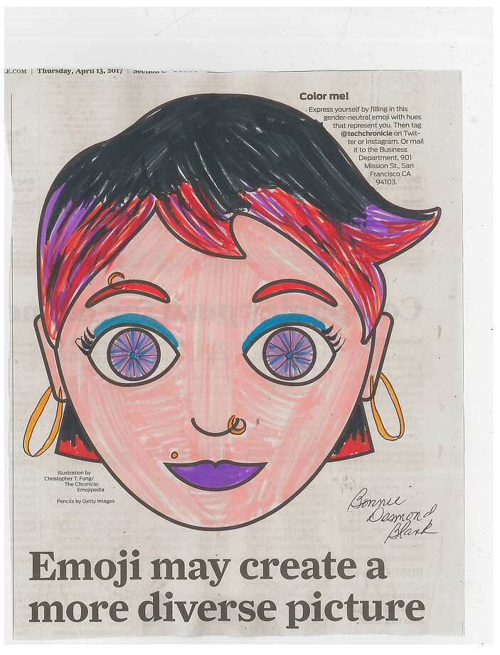Readers customize a new gender-neutral emoji in response to an invitation by The Chronicle to make it their own. Photo: Chronicle Readers, Bonnie Desmond Blank