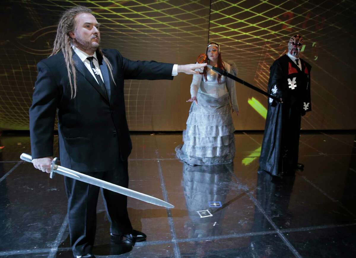 Singers in the Houston Grand Opera's Gé¼tterdé¼mmerung performance pose for photos on Friday, April 7, 2017, in Houston. ( Elizabeth Conley / Houston Chronicle )