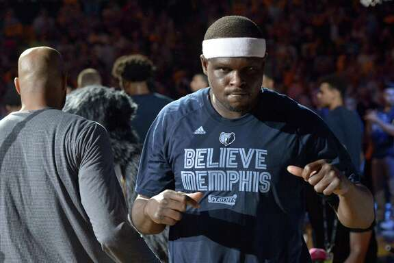 Grizzlies forward Zach Randolph is seen during player introductions before Game 3 in against the Spurs on April 20, 2017, in Memphis, Tenn.