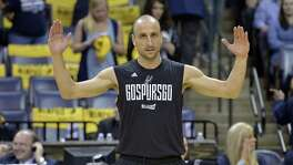 Spurs guard Manu Ginobili warms up before Game 3 against the Grizzlies on April 20, 2017, in Memphis, Tenn.