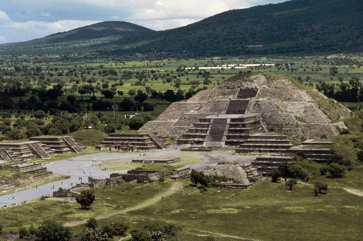 MEXICO - APRIL 1: The Pyramid of the Sun and the Avenue of the Dead, Teotihuacan (UNESCO World Heritage List, 1987), Anahuac, Mexico. Teotihuacan civilisation, Miccaotli period, 150-250.