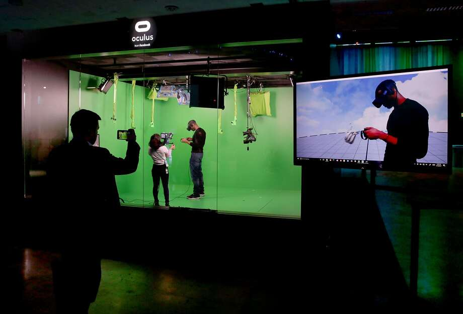 Attendees try out the the Oculus VR mixed realty art battle at the F8 Facebook Developer Conference in San Jose. Photo: Michael Macor, The Chronicle