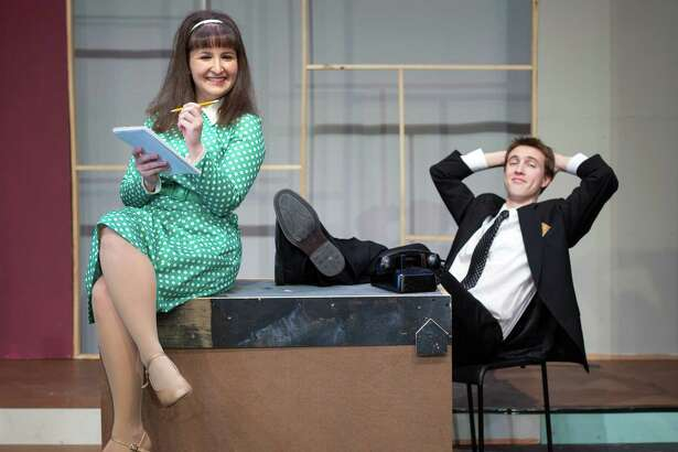 "Nikki Scamuffo and Jackson Gallati, as Rosemary and Finch, in the Wilton Playshop's production of ""How to Succeed in Business Without Really Trying,"" Friday, April 28, through Saturday, May 13."
