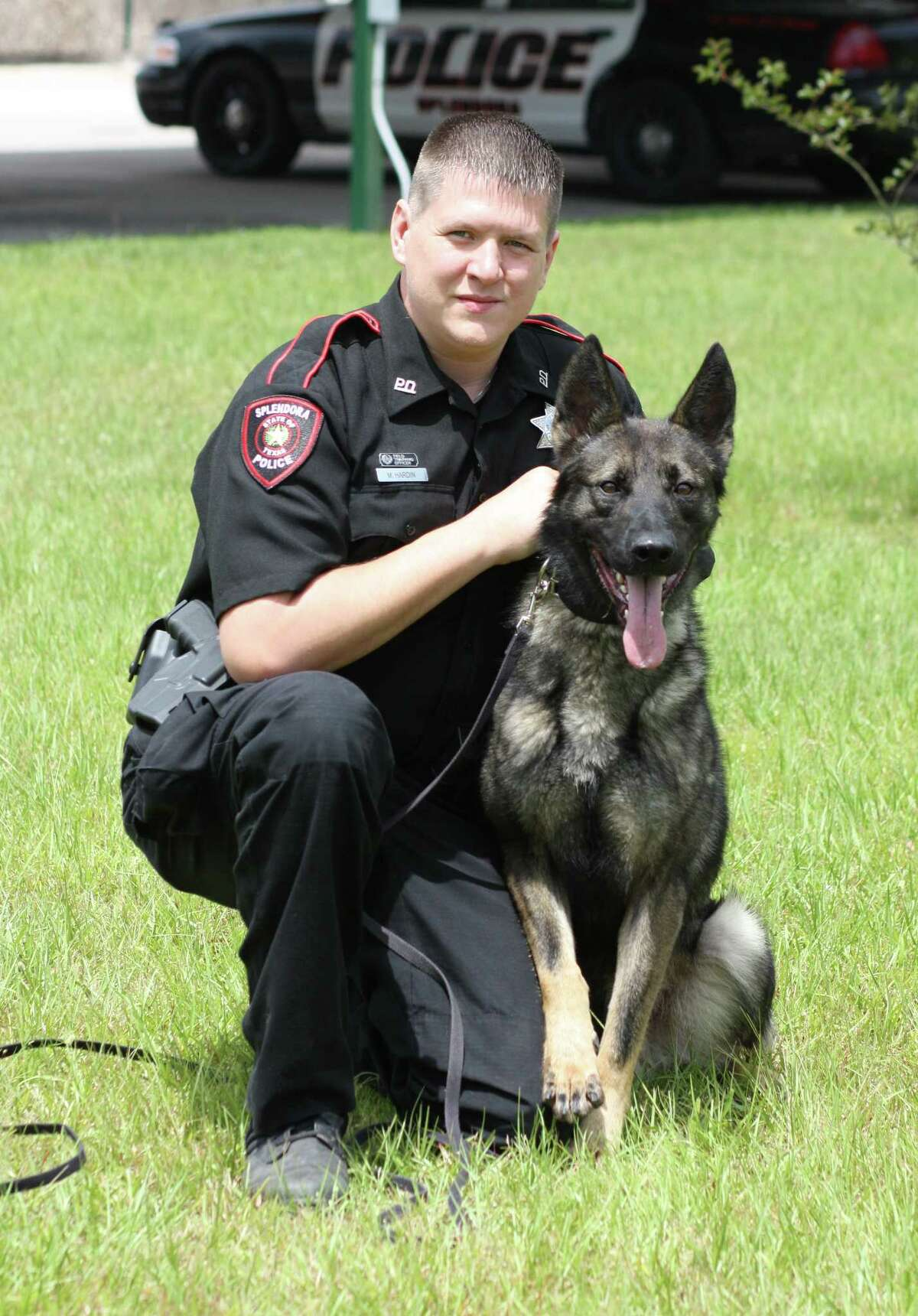 Ray Hardin is getting to know his new K-9 partner, A.D. The two have been paired up for just a week but will soon be patrolling Splendora together. A.D. is a Maliherd - a mixture of German Shepherd and Belgian Malinois that is often used for police dogs.