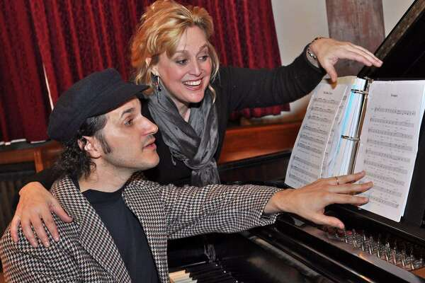 """Michele Grace works with Chris Coogan during a previous Connecticut Playmakers production. Grace will launch an original production, """"Hollywood Take 2"""" this weekend, while Coogan will accompany with music."""