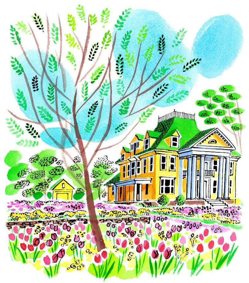 The Bridgeport Colorblends mansion featured a riot of daffodils earlier in the season. Now tulips are abloom. Photo: Colorblends / Contributed Graphic