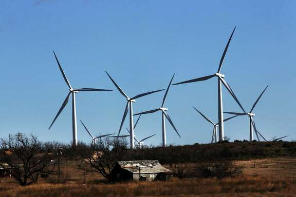 Wind turbines are viewed at a wind farm in 2016 in Colorado City, Texas. Wind power accounted for 8.3 percent of the electricity generated in Texas during 2013. It is part of the formula — including solar and natural gas — that will make the state an energy leader.