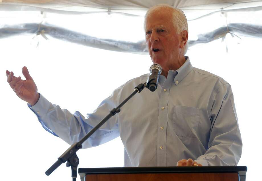 United States Rep. Mike Thompson, D-Calif., speaks to a crowd to celebrate the levee breach near Sonoma, California, on Sunday, Oct. 25, 2015. Photo: Connor Radnovich, The Chronicle