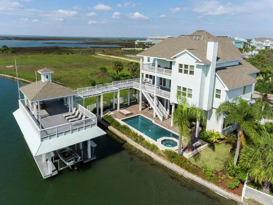This large, high-end home is in Galveston's Pirates Cove.