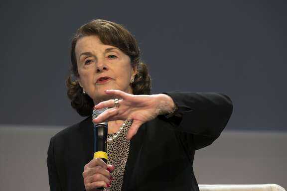 U.S. Sen. Dianne Feinstein speaks to an audience at the Silicon Valley Leadership Group on Friday, April 21, 2017 in Sunnyvale, Calif.