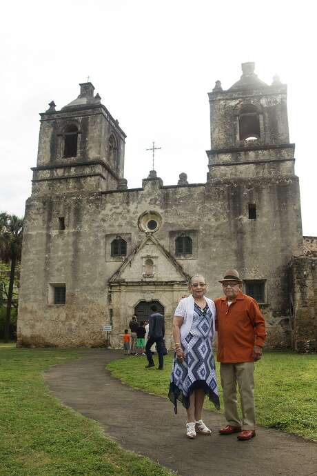 Janie and Domingo Rios in front of Mission Concepción. Photo: Alma E. Hernandez / For The Express News