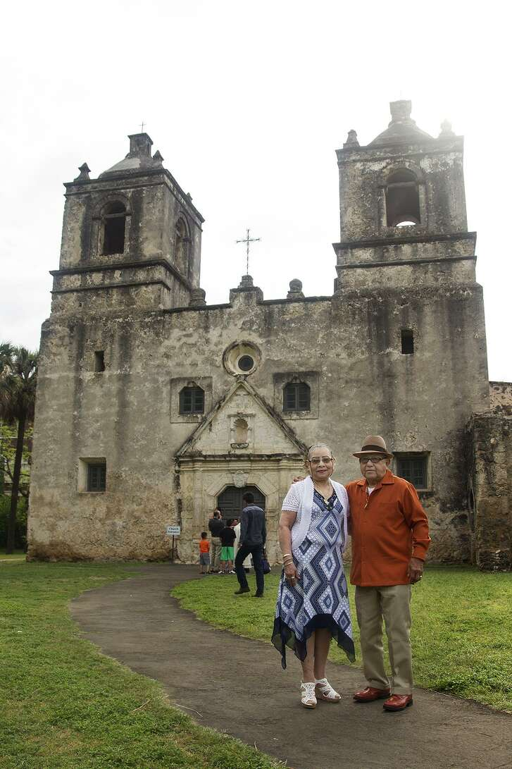 Janie and Domingo Rios in front of Mission Concepción.