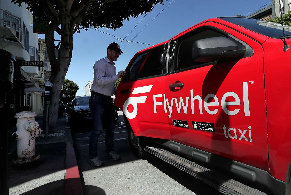 Flywheel customer Conor Nugent reaches his destination in San Francisco, Calif., on Fri. April 21, 2017.