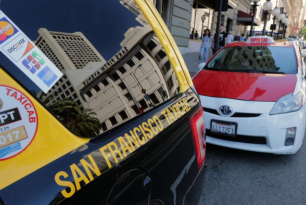 San Francisco Taxi cabs line up in front tot the Westin St. Francis Hotel in Union Square in San Francisco, Calif., on Fri. April 21, 2017.