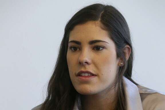 The WNBA San Antonio Stars number one draft pick rookie guard Kelsey Plum of the University of Washington speaks Friday April 21, 2017 with San Antonio Express-News reporter Terrence Thomas at the AT&T Center.