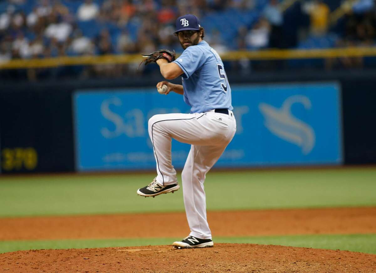 ST. PETERSBURG, FL - APRIL 2: Austin Pruitt #50 of the Tampa Bay Rays pitches during the ninth inning of the Opening Day game against the New York Yankees on April 2, 2017 at Tropicana Field in St. Petersburg, Florida. (Photo by Brian Blanco/Getty Images)