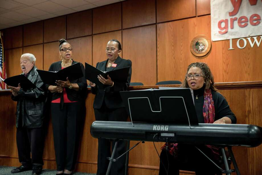 From left, James Gordon, Gracie Smith, Marline Hyatt, and Michele Hilton, of Greenwich's First Bapist Church Choir perfomed several songs at the YWCA's Stand Against Racism ceremony last year. The ceremony will again take place on April 28. Photo: Kyle Michael King / For Hearst Connecticut Media / Kyle Michael King 2016