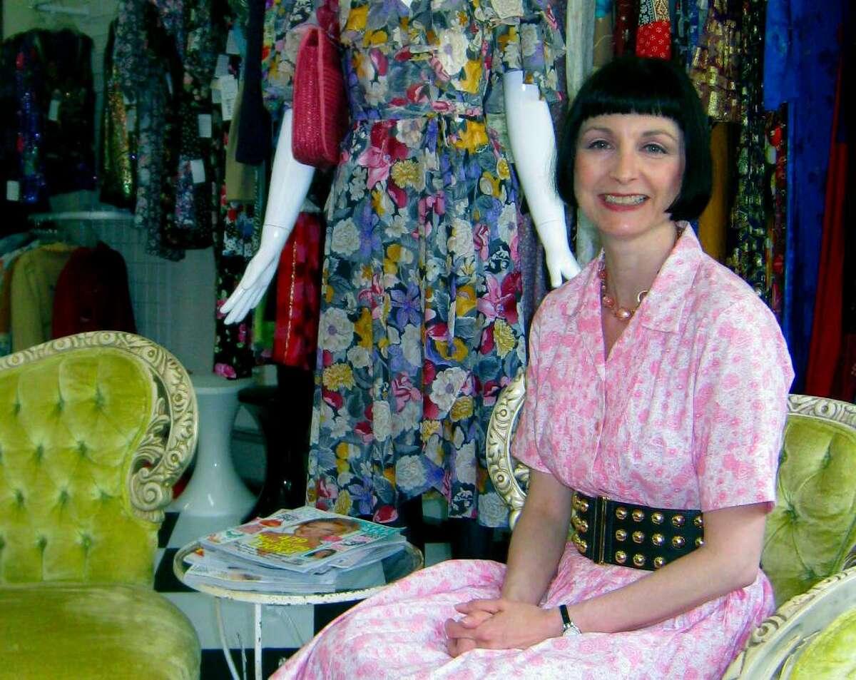 Brenda Sabbatino welcomes patrons with an eye for quality and a good buy at Rhiannon's Vinage Clothing in New Milford.