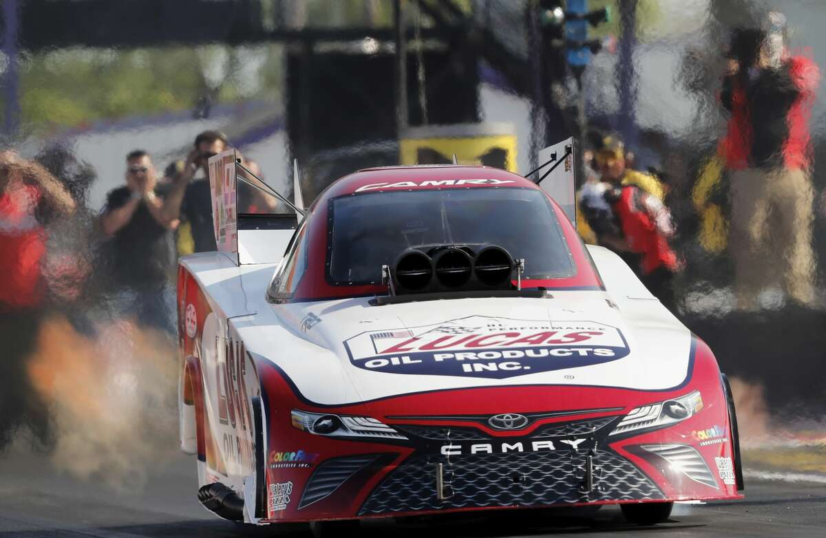 Funny Car driver Del Worsham has a qualifying time of 6.872 during the first day qualifying at the 30th annual NHRA Spring Nationals at the Royal Purple Raceway on Friday, April 21, 2017 in Baytown, TX.