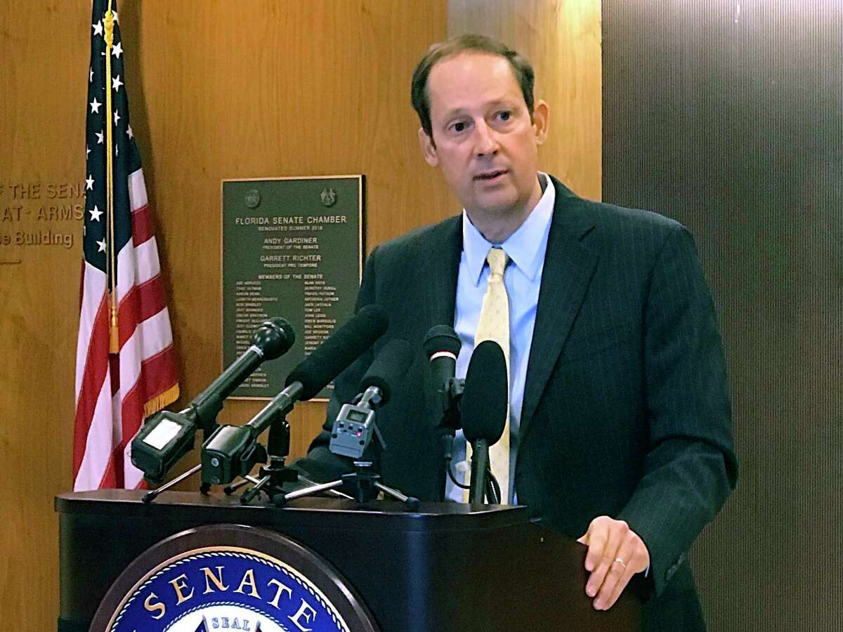 Florida Senate president Joe Negron discusses the resignation of Sen. Frank Artiles during a news conference in front of the Senate chamber in Tallahassee, Fla., on Friday, April 21, 2017. Artiles resigned after making a racial slur to a Senate colleague earlier in the week. (AP Photo/Joe Reedy)