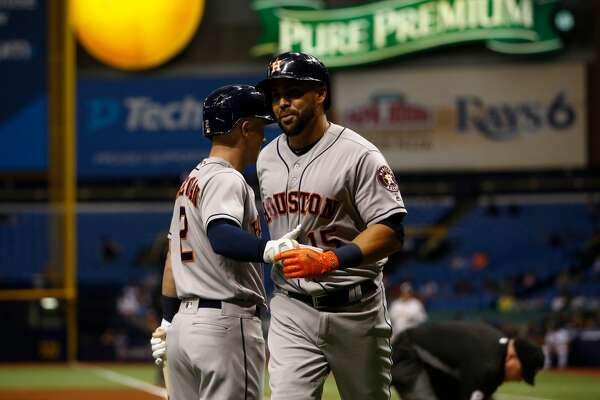 ST. PETERSBURG, FL - APRIL 21:  Carlos Beltran #15 of the Houston Astros celebrate with Alex Bregman #2 of the Houston Astros after hitting a home run off of pitcher Alex Cobb of the Tampa Bay Rays during the second inning of a game on April 21, 2017 at Tropicana Field in St. Petersburg, Florida. (Photo by Brian Blanco/Getty Images)