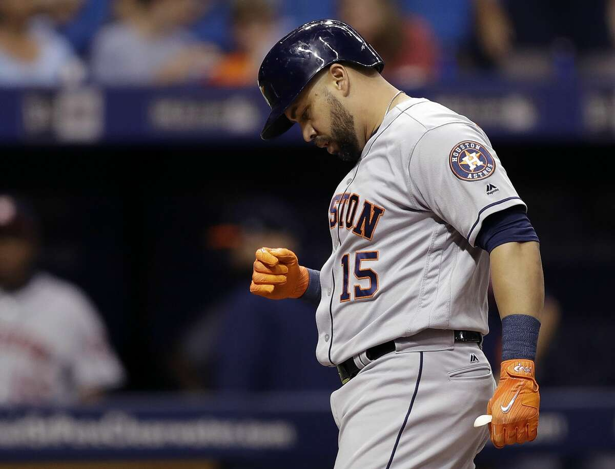 Houston Astros' Carlos Beltran reacts after his home run off Tampa Bay Rays starting pitcher Alex Cobb during the second inning of a baseball game Friday, April 21, 2017, in St. Petersburg, Fla. (AP Photo/Chris O'Meara)
